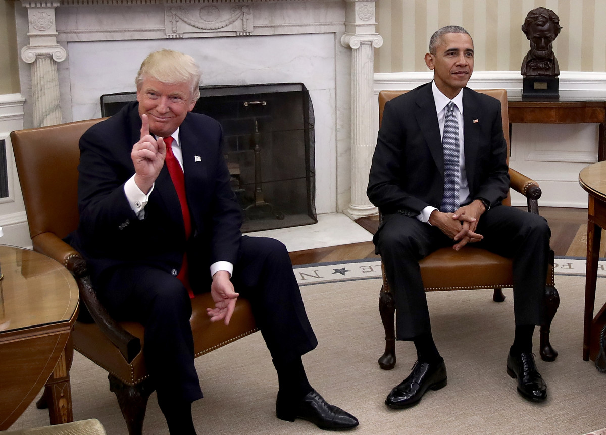 Then President-elect Donald Trump meets Barack Obama in the Oval Office.