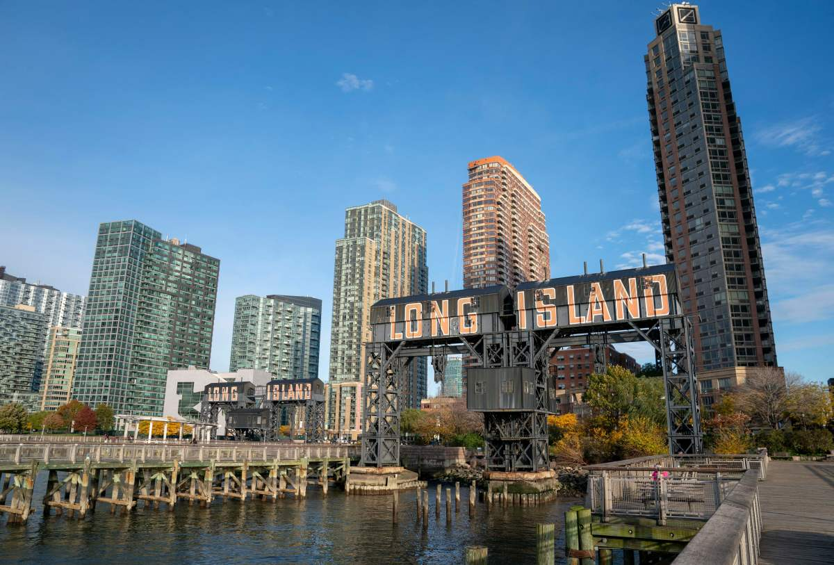 A view of the waterfront of Long Island City in the Queens borough of New York, along the East River, on November 7th, 2018.