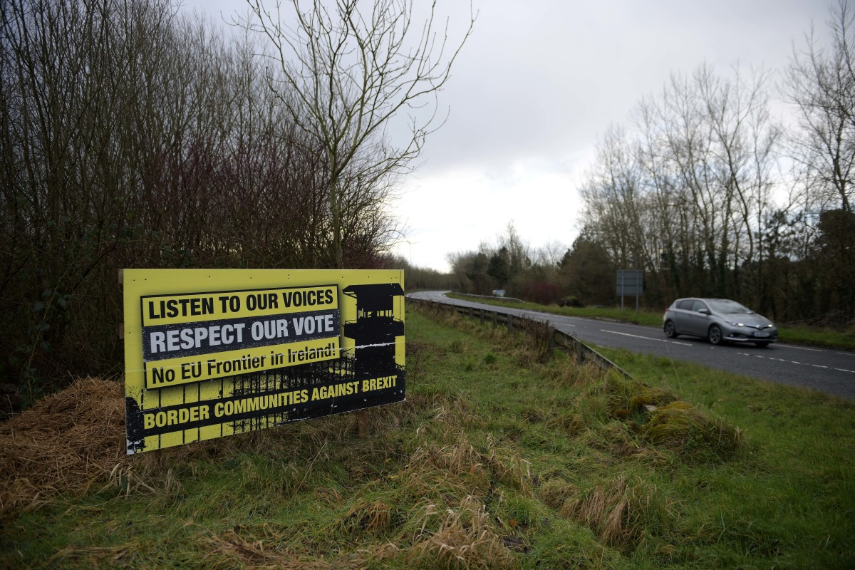 A Border Communities Against Brexit sign can be seen on Aghalane Bridge on February 17th, 2019, in Aghalane, Ireland. Britain will leave the E.U. on March 29th following the referendum in 2016. Many people in Northern Ireland and Ireland are concerned about a return of a so-called hard border, which could inspire unrest reminiscent of the Troubles.