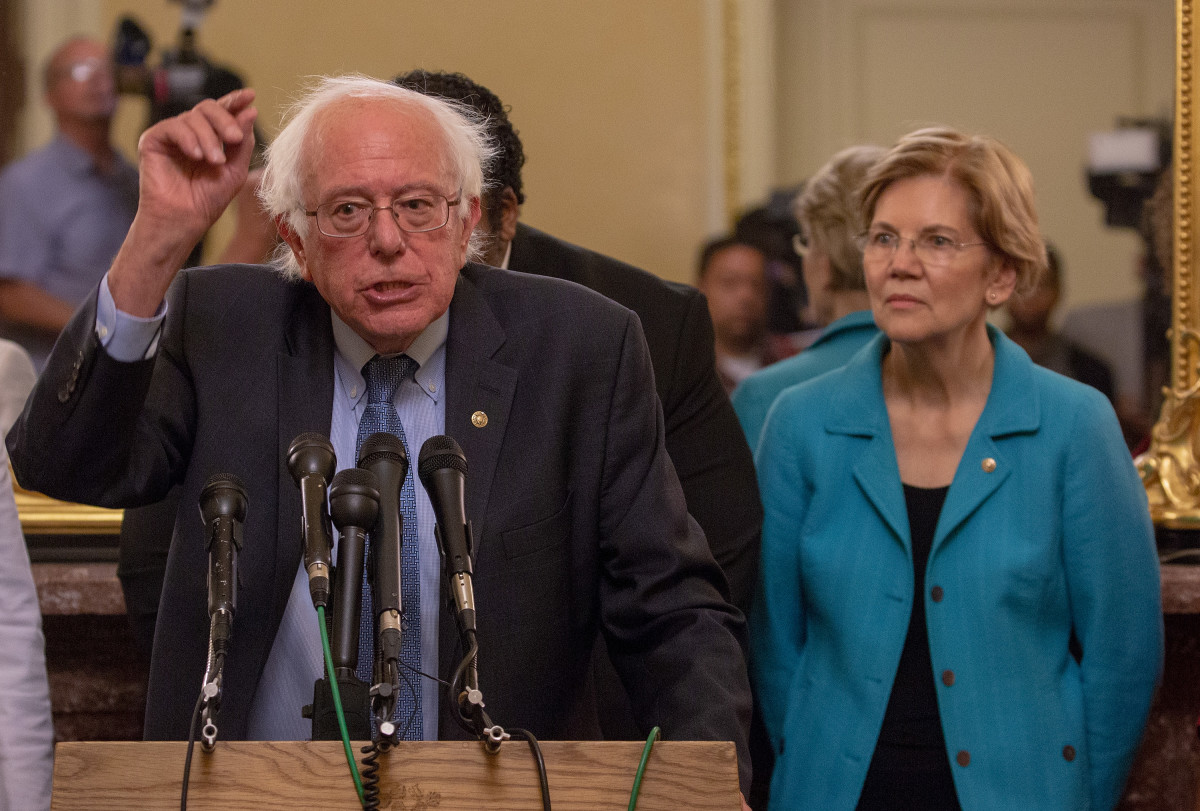 Senators Bernie Sanders and Elizabeth Warren protesting the nomination of Brett Kavanaugh to the Supreme Court, at a press conference on July 24th, 2018, in Washington, D.C.