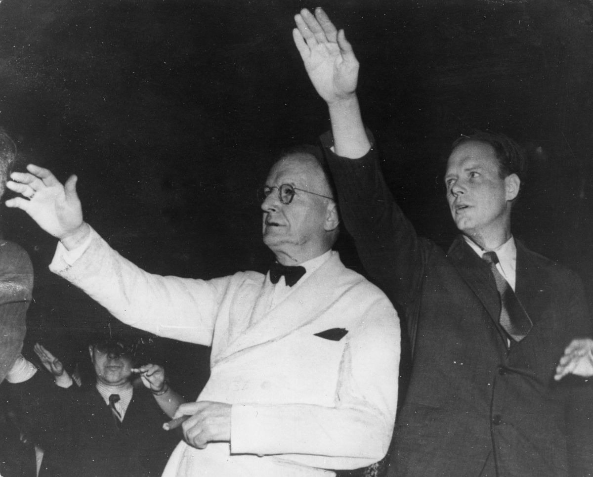 Senator Burton Wheeler of Montana, left, and Colonel Charles Lindbergh, right, at a rally to keep the U.S. out of World War II.