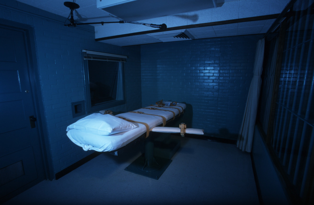 The Texas death chamber in Huntsville, Texas, pictured on June 23rd, 2000, the day after death row inmate Gary Graham was put to death by lethal injection.