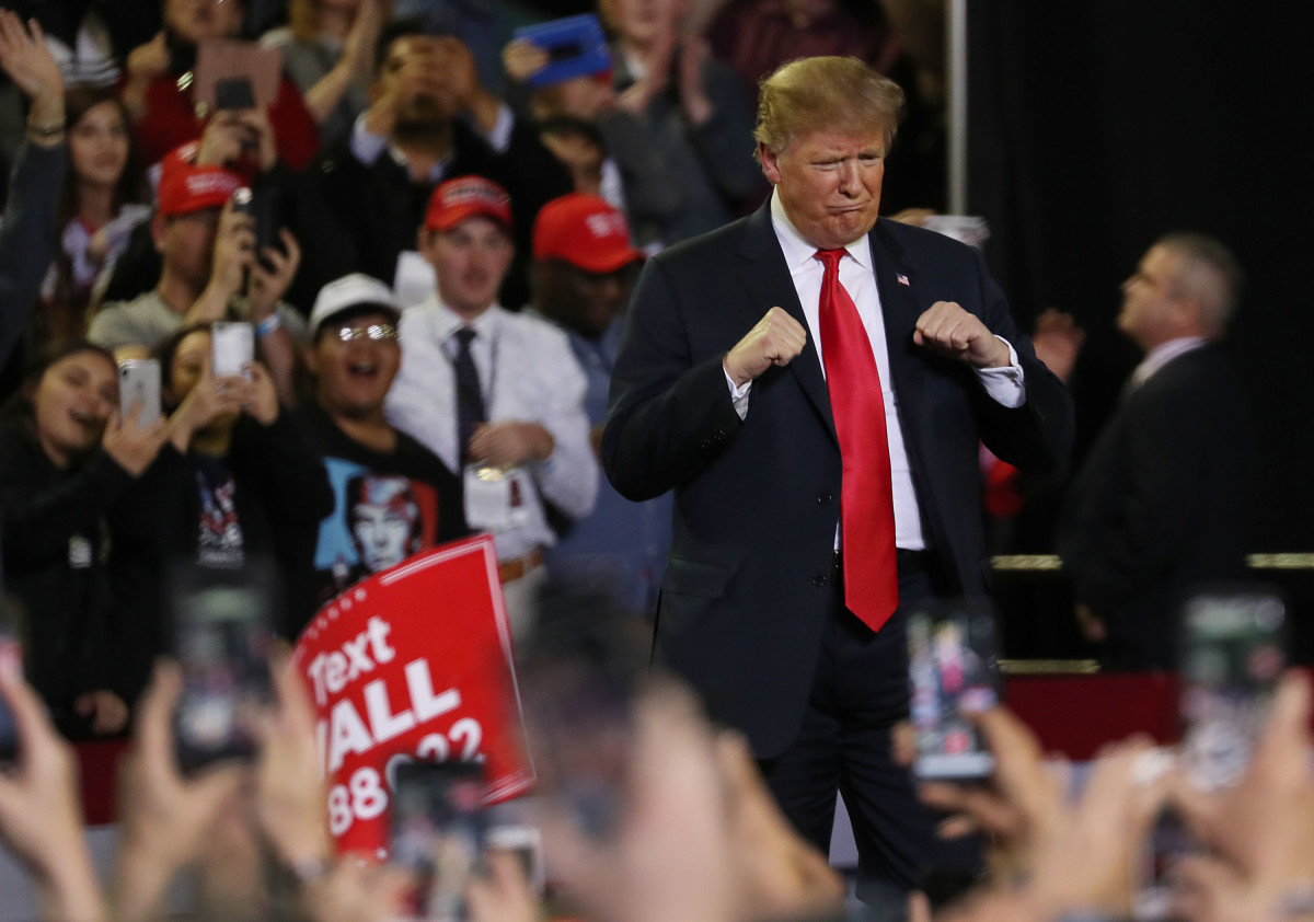 President Donald Trump attends a rally at the El Paso County Coliseum on February 11th, 2019, in El Paso, Texas.