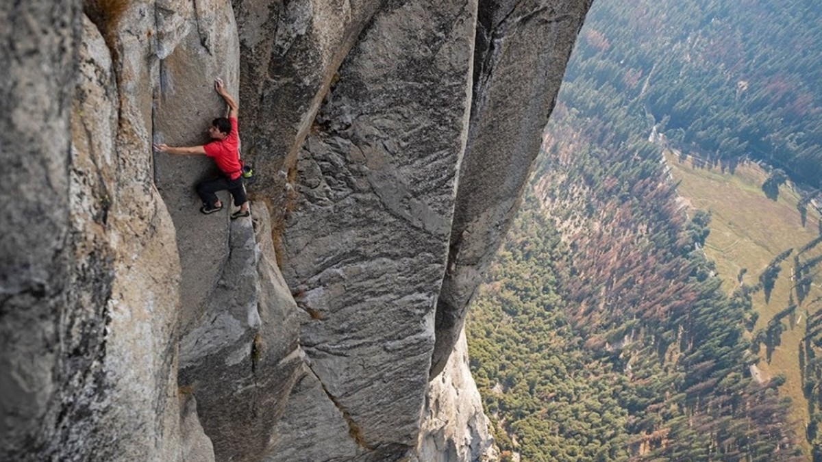 Alex Honnold climbing El Capitan in Yosemite National Park in National Geographic's Oscar-winning documentary Free Solo.