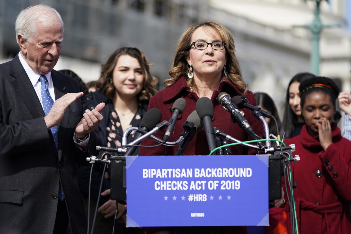 Gabby Giffords speaks in support of gun background checks.