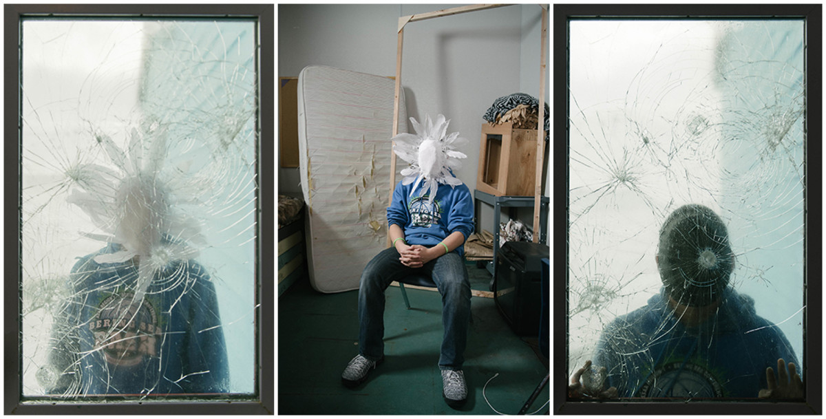 NA wears his pure white mask of hope in the art supply closet at school (center); Also pictured: NA standing outside a shattered school window wearing his hope mask (left) and his featureless grief mask (right). As with many Yup'ik, speaking about emotions is immensely difficult for him.