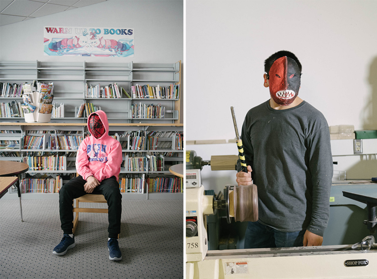 Gambell is not exempt from the reach of popular culture, as seen by AB's joy mask (left). For AB, the likeness represents something he'd like to be, though he admits he doesn't know how; BK (right) wears a fierce mask that is his interpretation of hope and strength. Holding a chisel in his school's shop class, he hopes that occupational training will help him to land a good job when he graduates.
