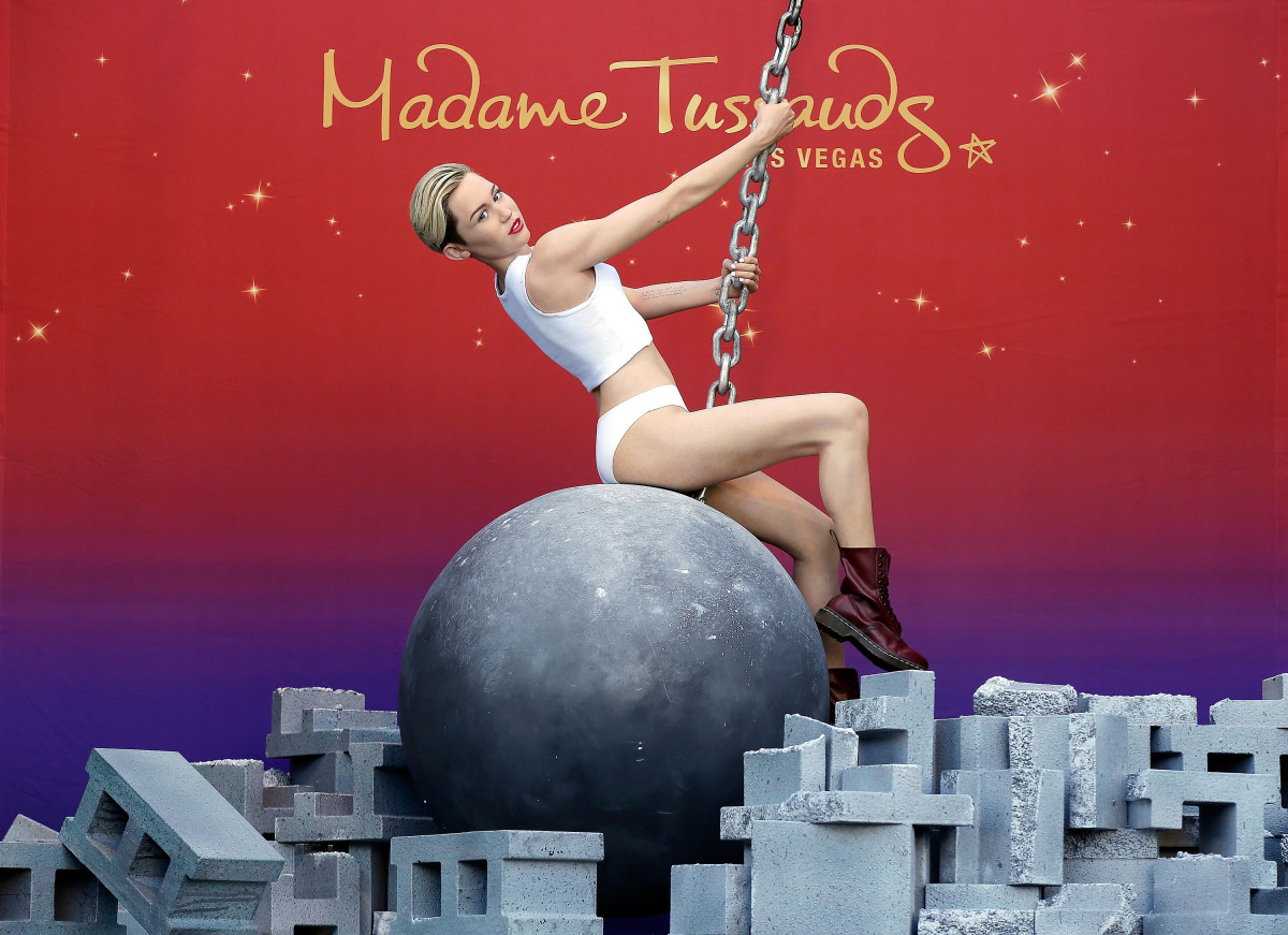 Madame Tussauds debuts its Miley Cyrus wax figure atop a wrecking ball at The Venetian on March 9th, 2015, in Las Vegas, Nevada.