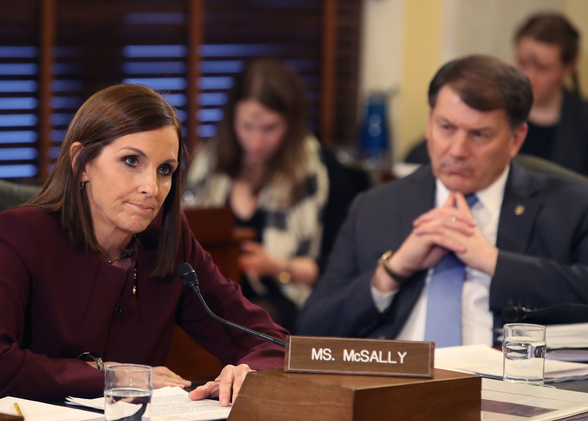 Senator Martha McSally (R-Arizona) speaks while Senator Mike Rounds (R-South Dakota) listens, during a Senate Armed Service Committee hearing on prevention and response to sexual assaults in the military, on March 6th, 2019, in Washington, D.C.