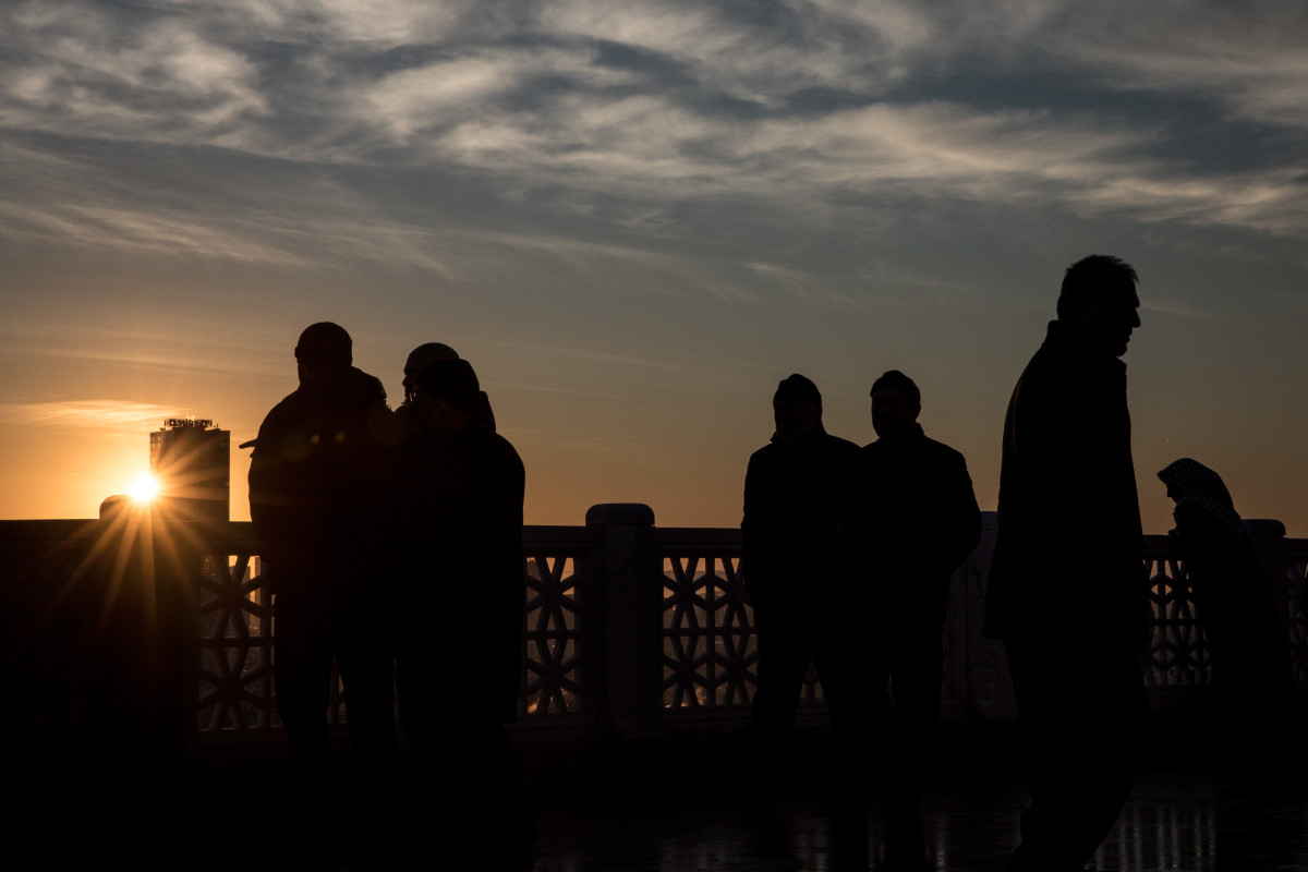 People view the sunrise from Camlica Mosque after taking part in the first official public prayer marking the opening of Camlica Mosque on March 7th, 2019, in Istanbul, Turkey.