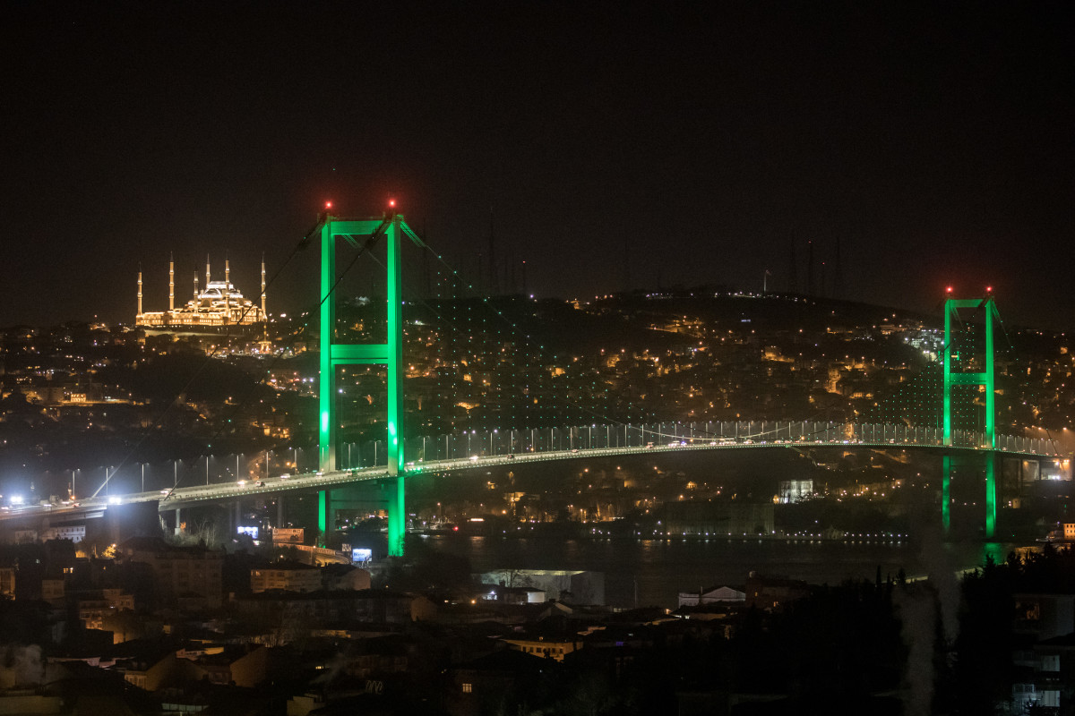Camlica Mosque is seen behind the July 15th Martyrs Bridge ahead of the first official public prayer marking the opening of Camlica Mosque on March 7th, 2019, in Istanbul, Turkey. The mosque sits on Camlica Hill with sweeping views over Istanbul.