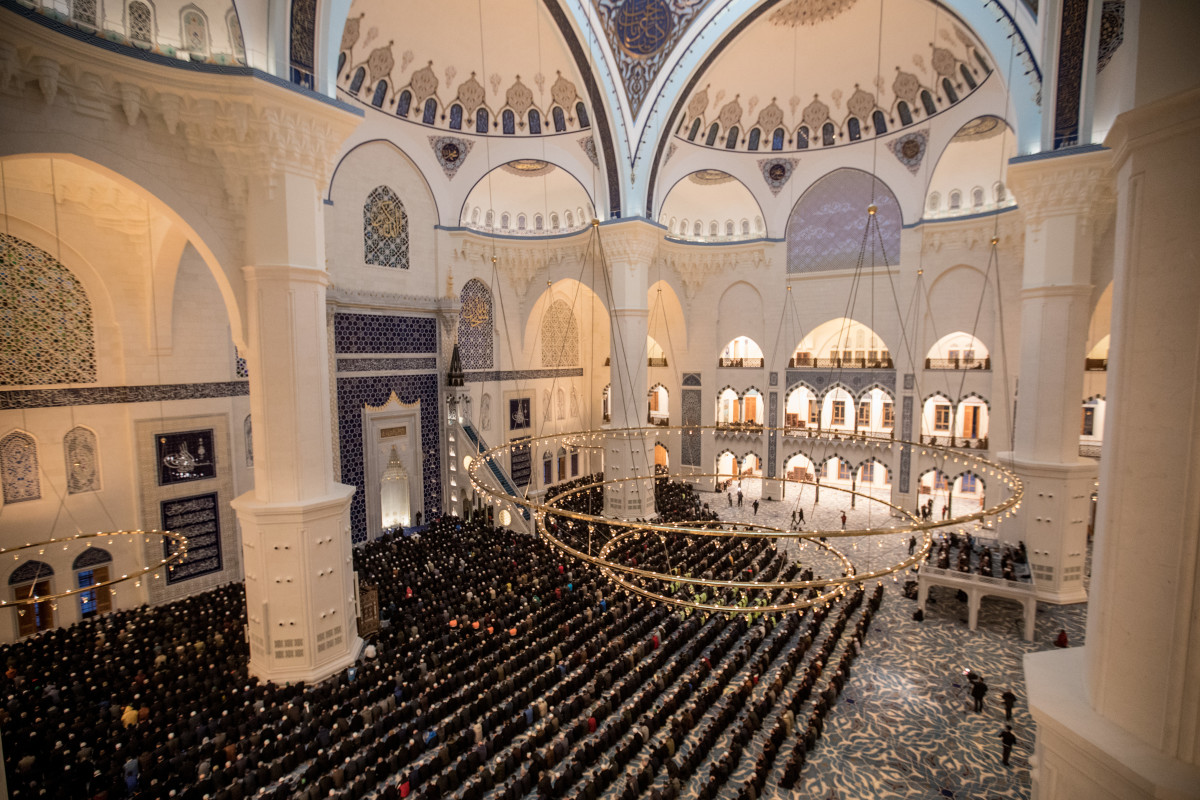 People take part in the first official public prayer marking the opening of Camlica Mosque on March 7th, 2019, in Istanbul, Turkey.