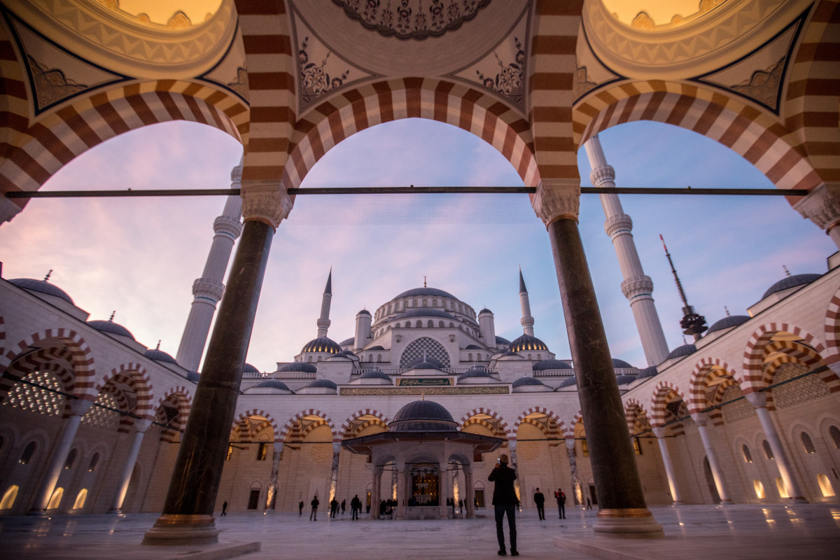 People stroll around in the courtyard of Camlica Mosque after taking part in the first official public prayer marking the opening of Camlica Mosque on March 7th, 2019, in Istanbul, Turkey.