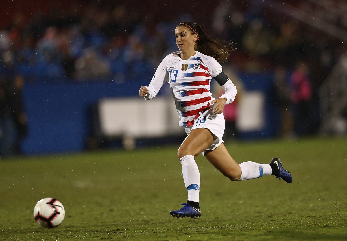 Alex Morgan of the United States during the CONCACAF Women's Championship final match at Toyota Stadium on October 17th, 2018, in Frisco, Texas.