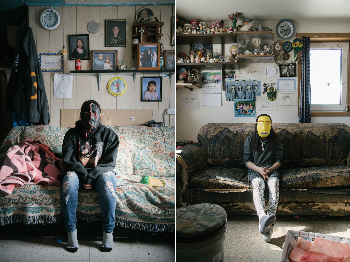 LA (left) reflects on family and loss at home in her mask of grief. Though her family has more than most, she is not insulated from the stream of deaths in the community; IK (right) feels a sense of relief when she is with her family. She wears her hope mask in the family home, where so many of her joyful memories come from.