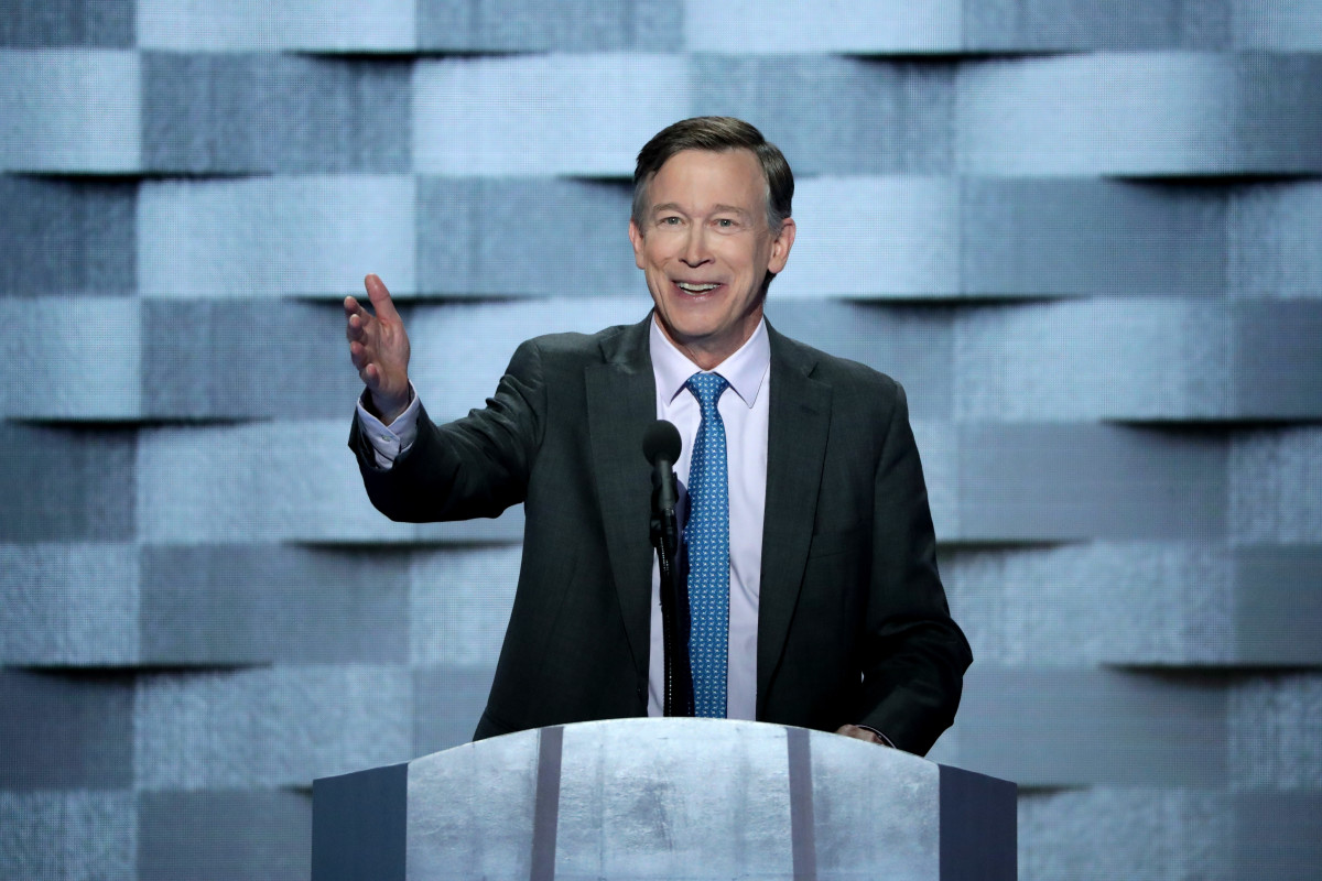 Then-Governor of Colorado John Hickenlooper speaks at the 2016 Democratic National Convention.