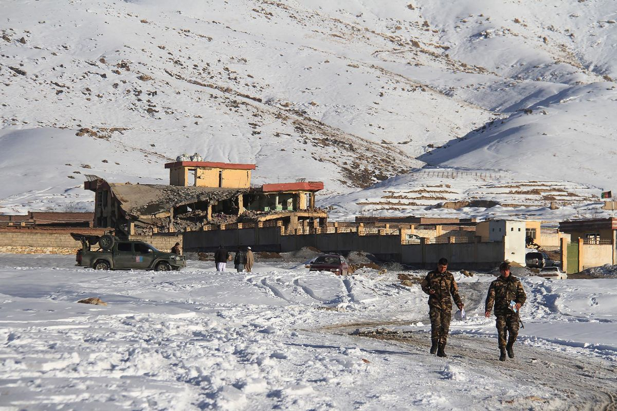 Afghan security forces walk near the attack site after a car bomb detonated on a military base in Wardak Province on January 21st, 2019.