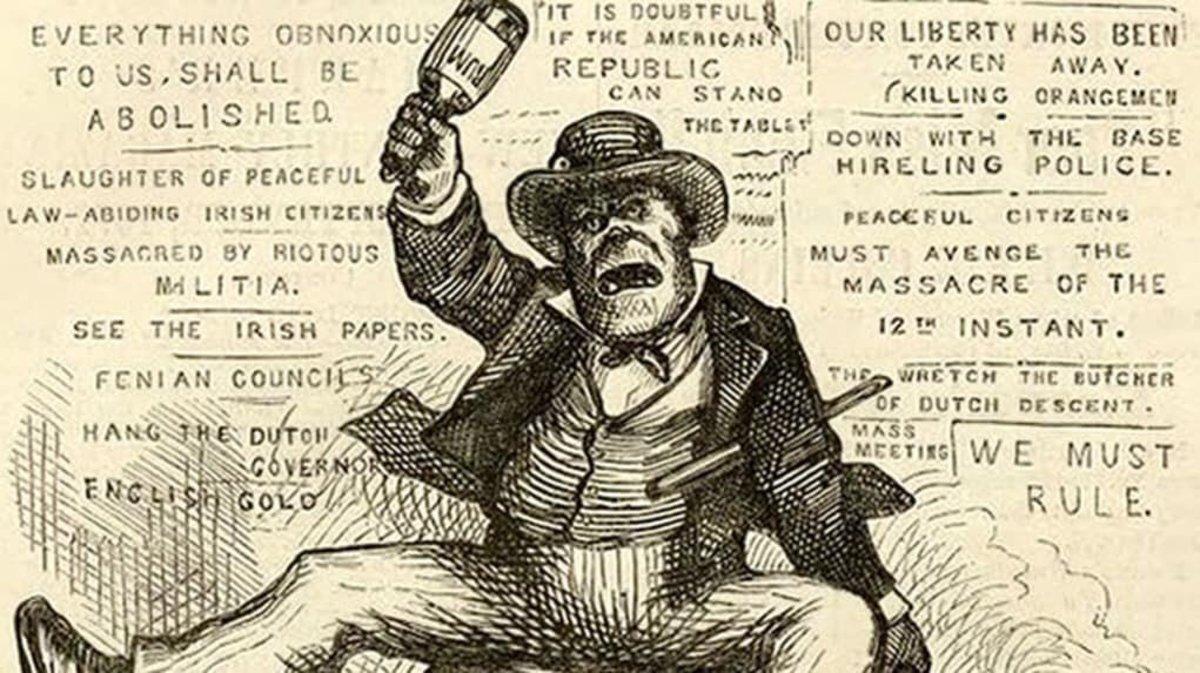 Racist Irish caricatures in 19th-century America