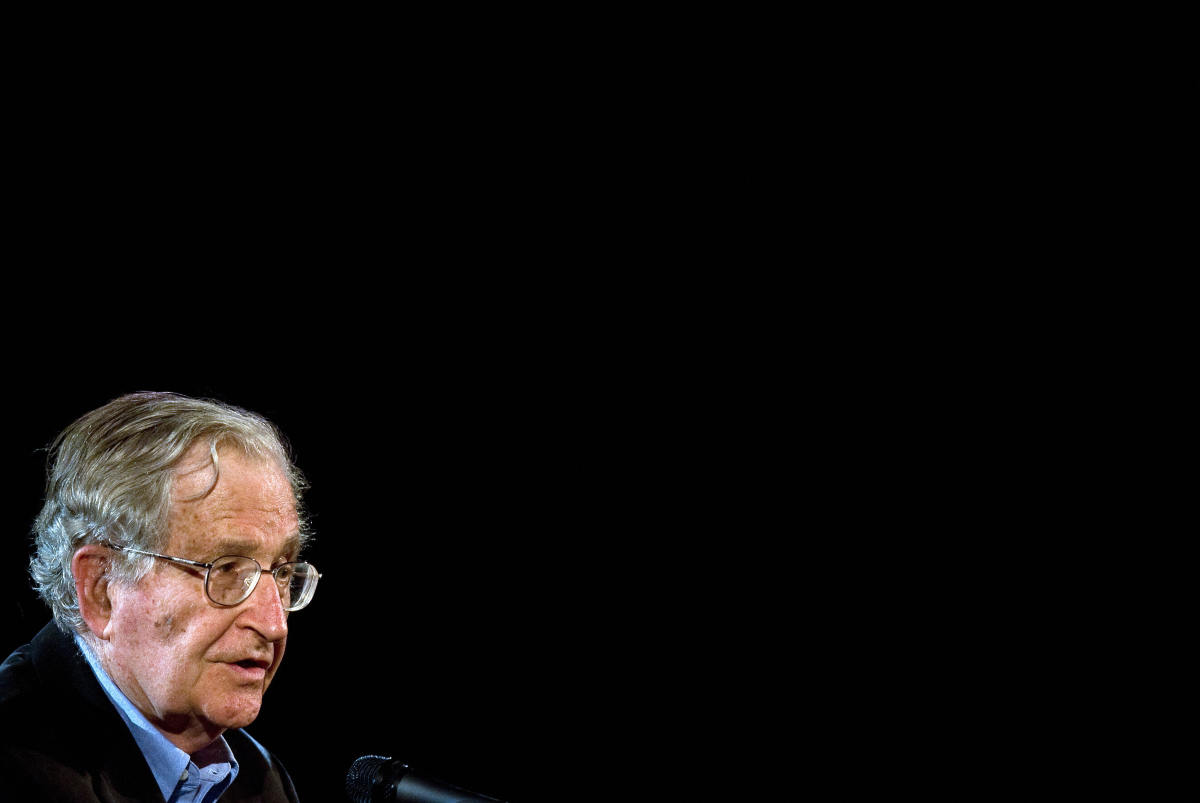 American linguist, philosopher, and political activist Noam Chomsky delivers a talk at the National Autonomous University of Mexico on September 21st, 2009, in Mexico City.