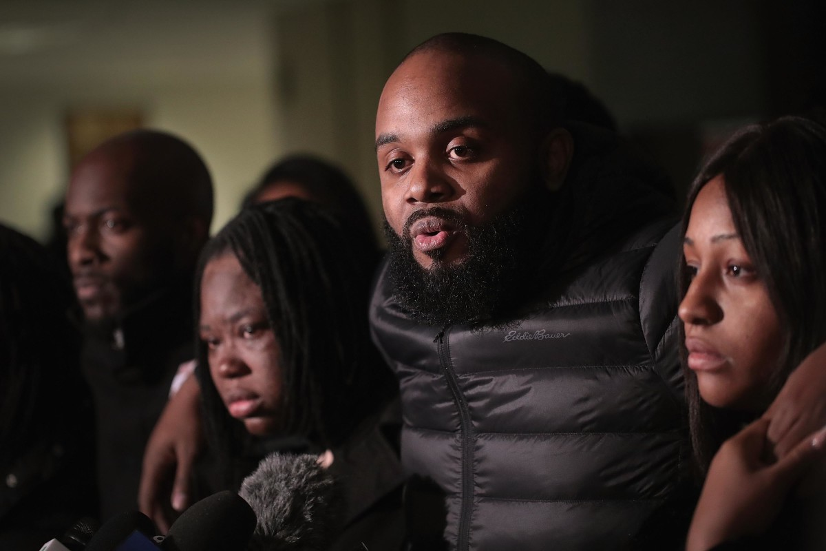 Community activist Will Calloway speaks to the press on January 18th, 2019, in Chicago, Illinois, following the sentencing hearing for former Chicago police officer Jason Van Dyke for the 2014 murder of 17-year-old Laquan McDonald.