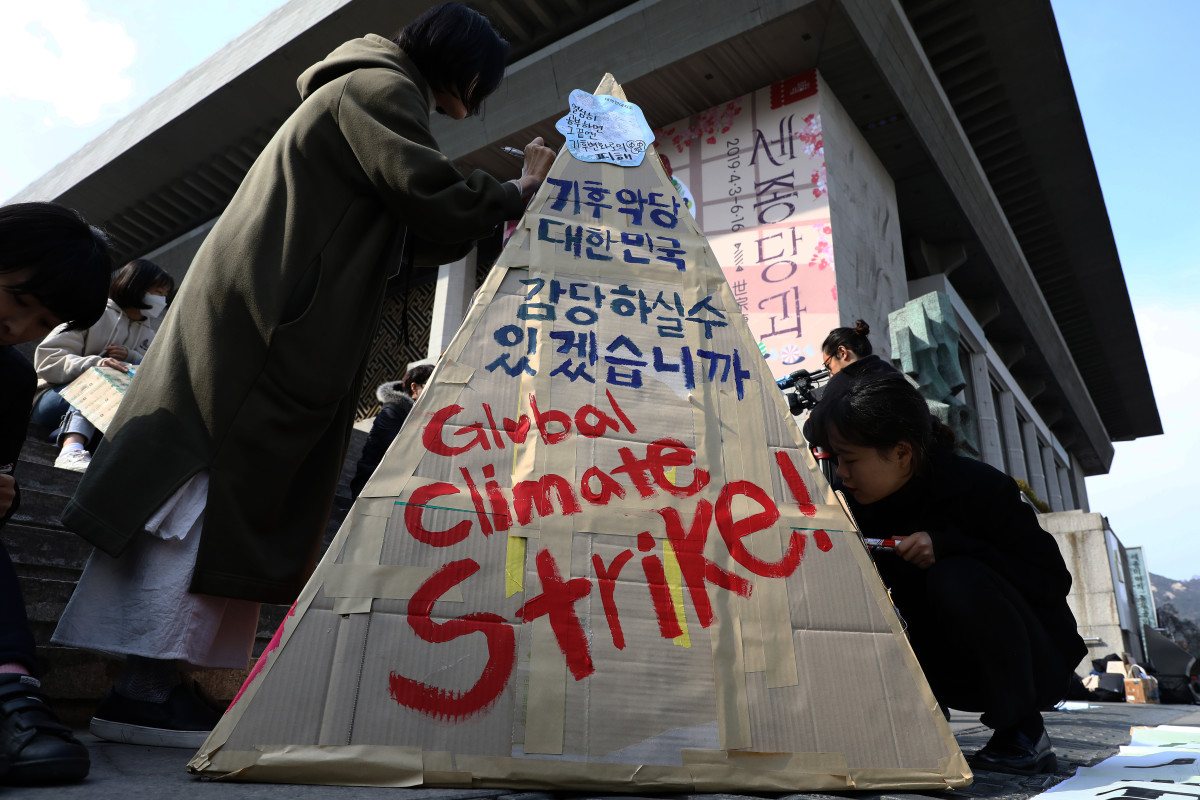 South Korean students participate in a climate strike rally on March 15th, 2019, in Seoul, South Korea.