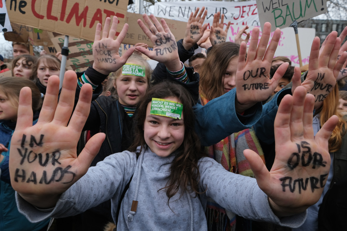 Children and students participate in a #FridaysForFuture climate protest on March 15th, 2019, in Berlin, Germany.