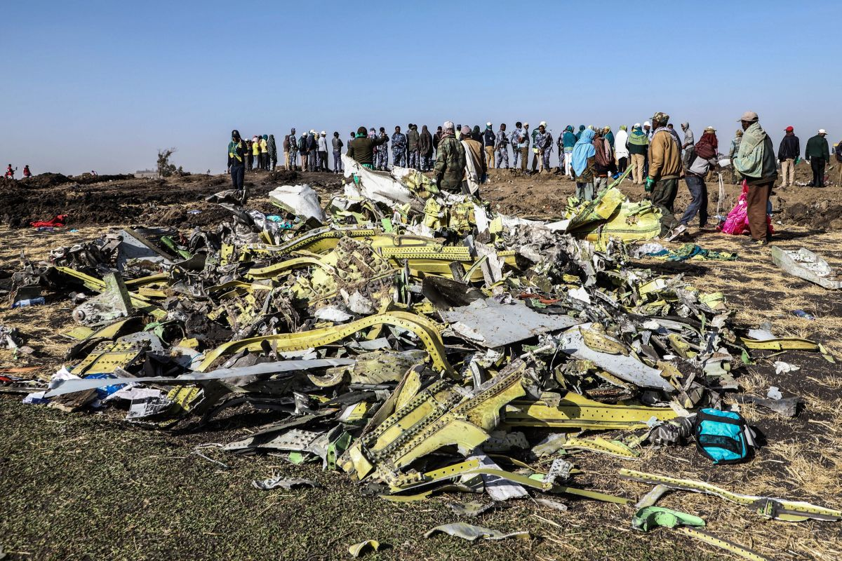 Airplane crash debris.