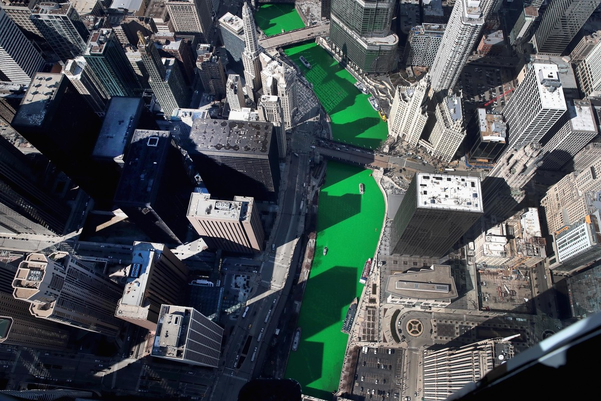 An aerial view of the Chicago River as it winds its way through downtown Chicago after being dyed green in celebration of St. Patrick's Day on March 16th, 2019.