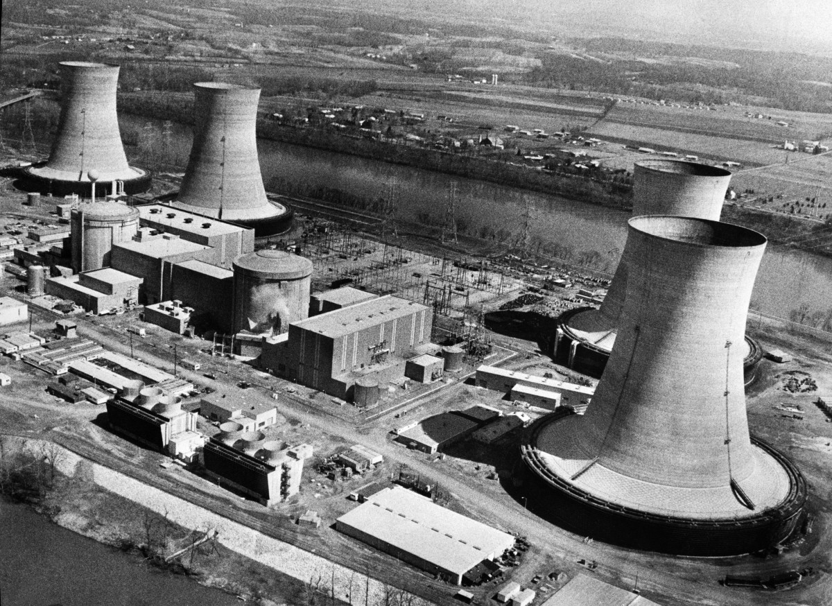 Three Mile Island Nuclear Generating Station in Dauphin County, Pennsylvania, on March 28th, 1979, the day of the site's partial meltdown.