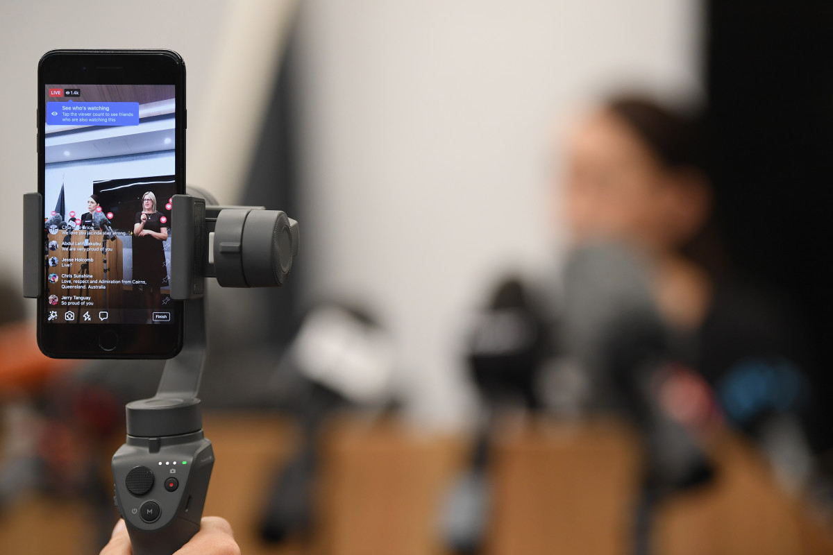 A Facebook Live video of New Zealand Prime Minister Jacinda Ardern speaking at a press conference on March 20th, 2019, in Christchurch, New Zealand.