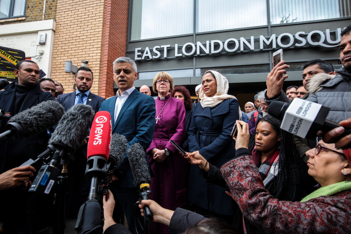 London Mayor Sadiq Khan and faith leaders attend a vigil at the East London Mosque for the victims of the New Zealand mosque attacks on March 15th, 2019, in London, England.