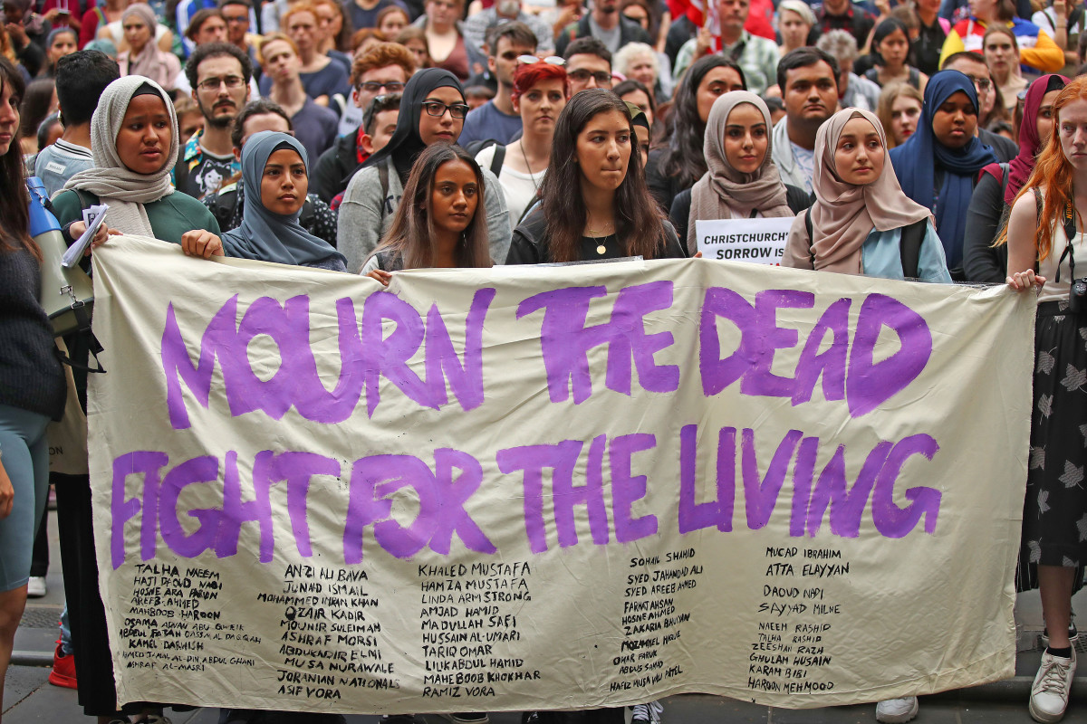 Protesters march during a rally against racism and Islamophobia on March 19th, 2019, in Melbourne, Australia. The protesters are calling for the resignation of Senator Fraser Anning, following a statement he issued within hours of the Christchurch terror attacks on Friday, March 15th, in which he linked the shootings at two mosques to immigration.