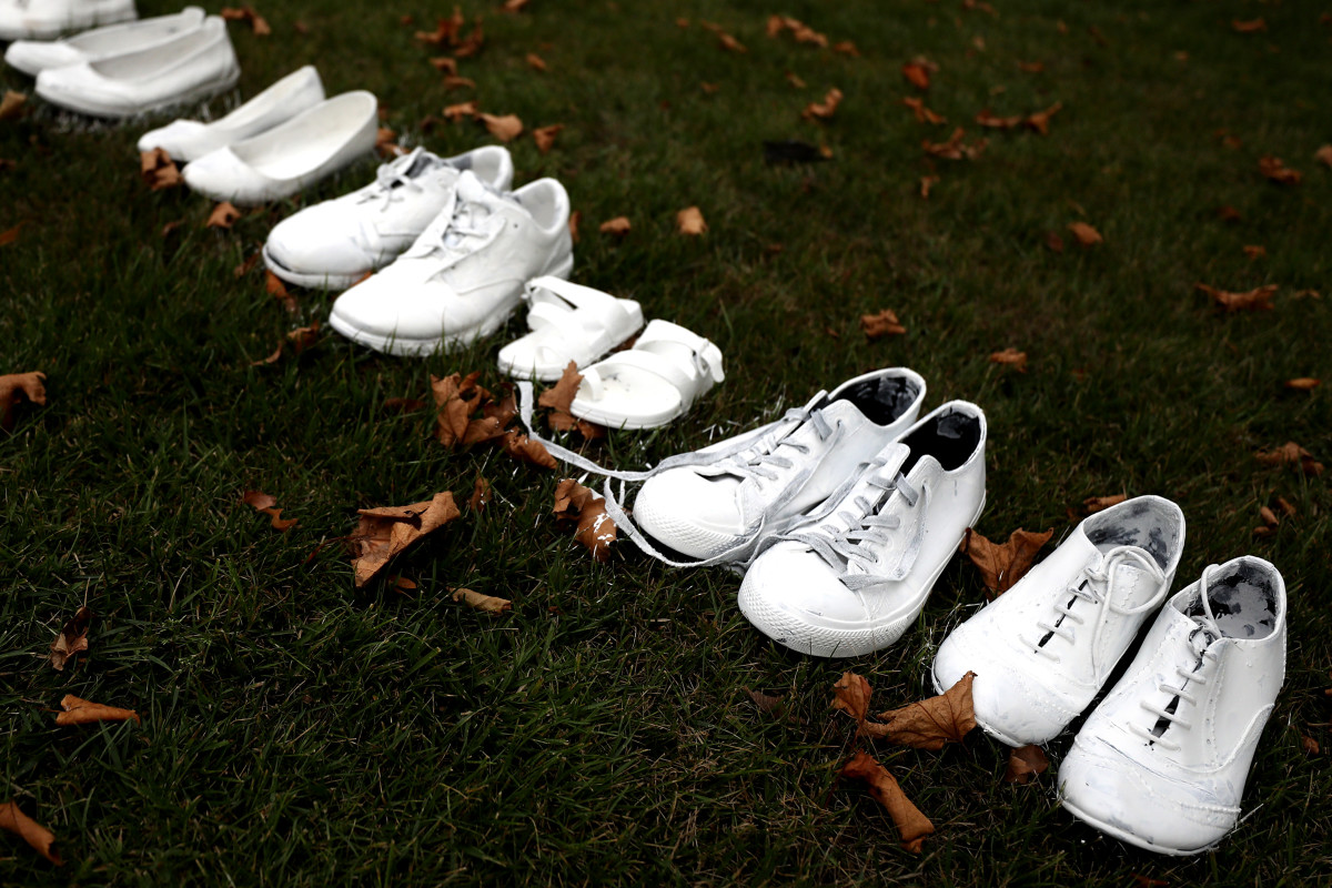 Fifty pairs of white shoes have been laid in front of All Souls Anglican Church in honor of victims who lost their lives in Christchurch, New Zealand.