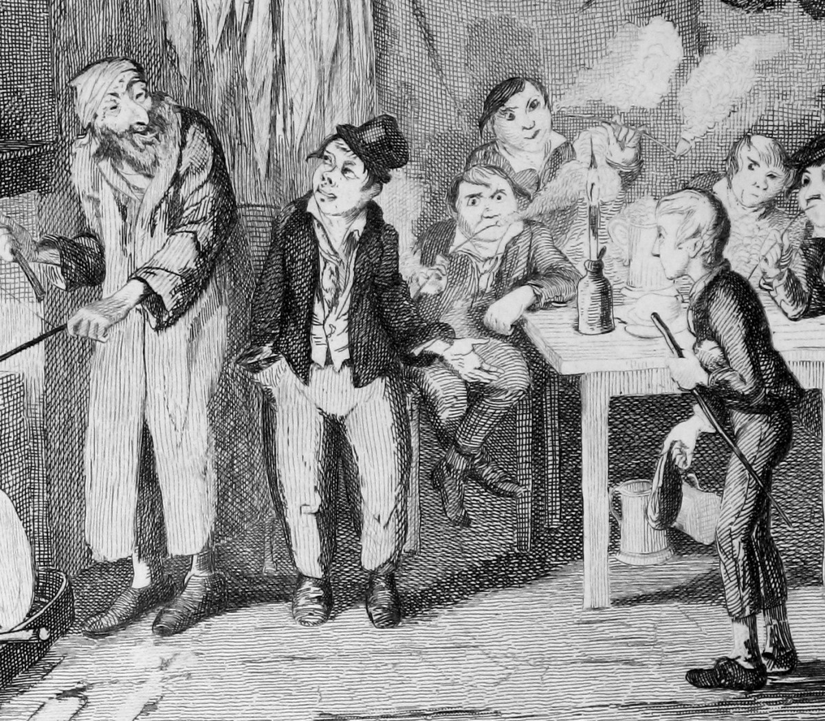 The Artful Dodger introduces Oliver to Fagin in this detail from an original George Cruikshank engraving for Charles Dickens' Oliver Twist, ca. 1839.