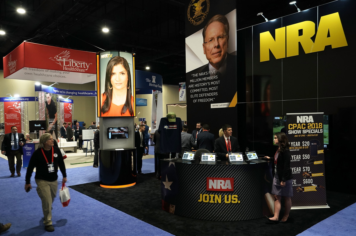 The National Rifle Association booth at the Conservative Political Action Conference in 2018.