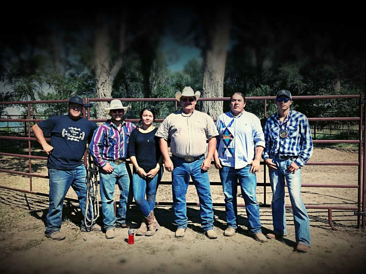 Left to right: Donny Hughes, Mason Redwing, Tea McGinnis, Dave Valandra, Greg Grey Cloud, and Isaiah Knife at a horse nation exhibit at St. Joseph's Indian School in Chamberlain, South Dakota.