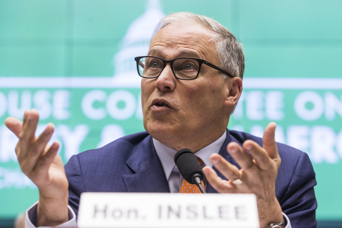 Governor Jay Inslee (D-Washington) testifies during a House Committee on Energy and Commerce hearing on climate change on Capitol Hill on April 2nd, 2019, in Washington, D.C. Inslee, who is a candidate for president in 2020, has said that he will make climate change the centerpiece of his campaign.