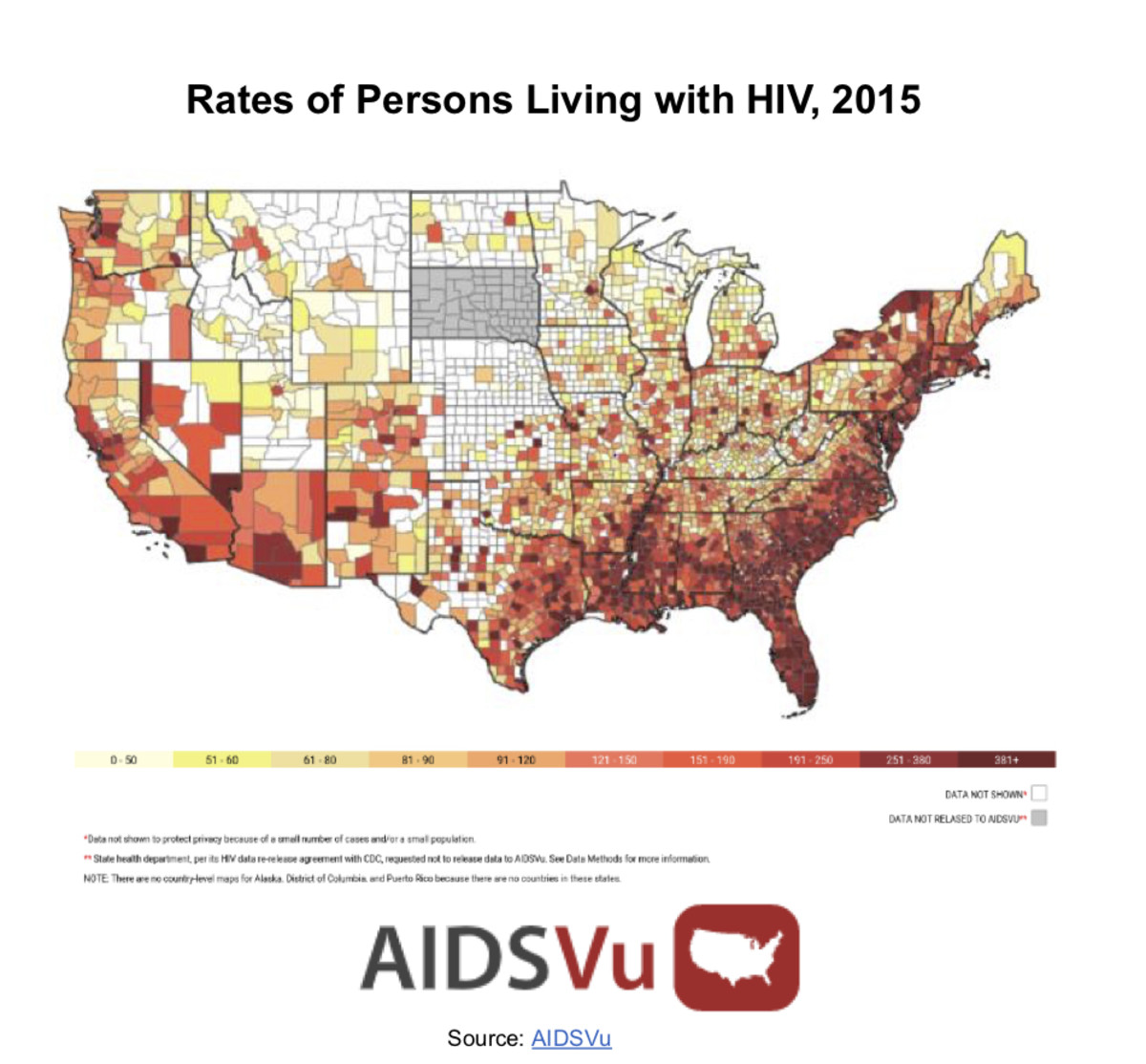 Rate of Americans with HIV as of 2015