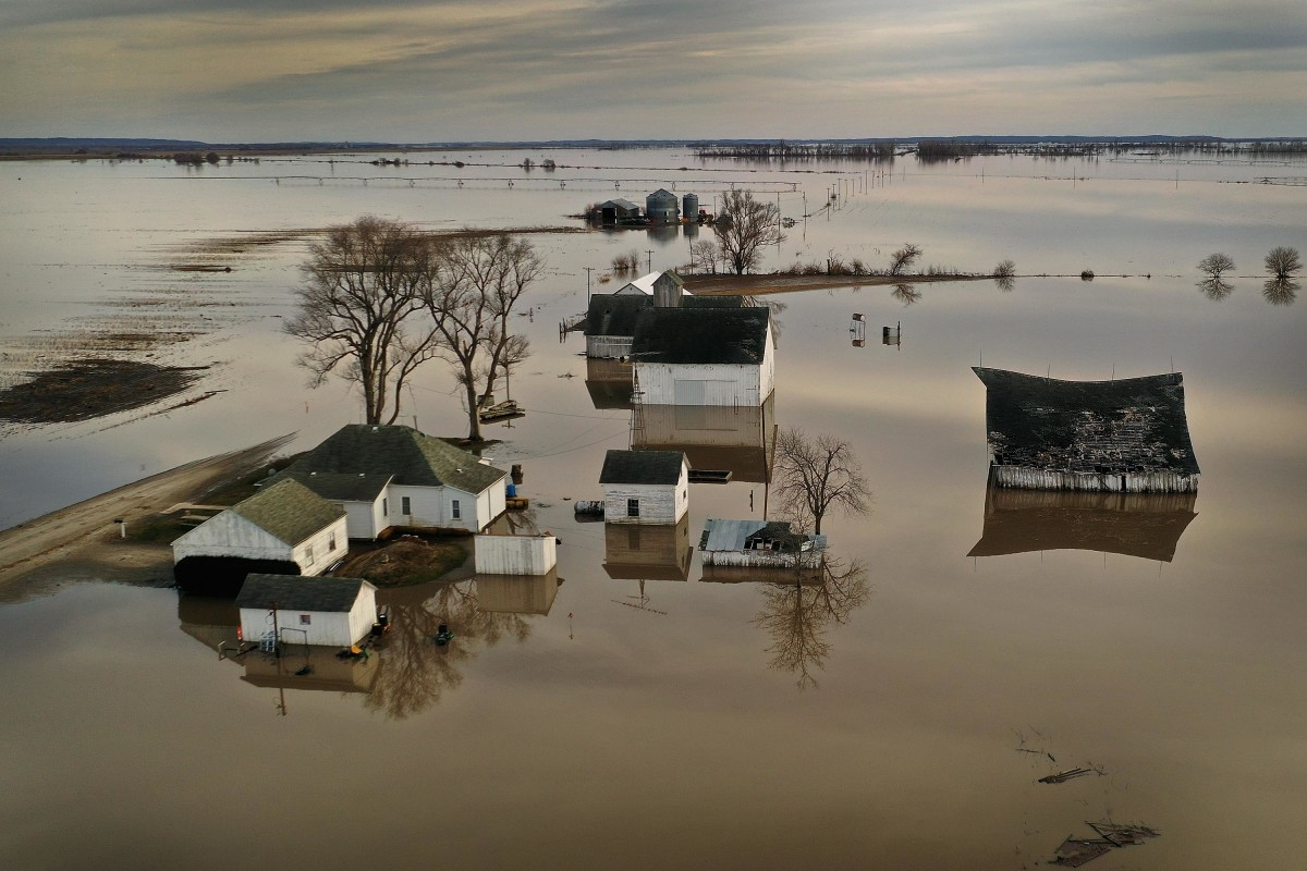Floodwater surrounds a farm on March 22nd, 2019, near Craig, Missouri.