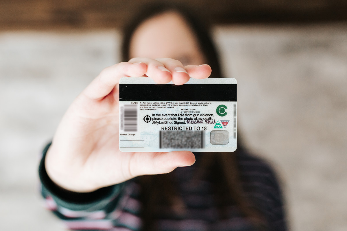 An ID tag that gives the press permission to publish photos of gun-related deaths from a student-led initiative to reduce gun violence.