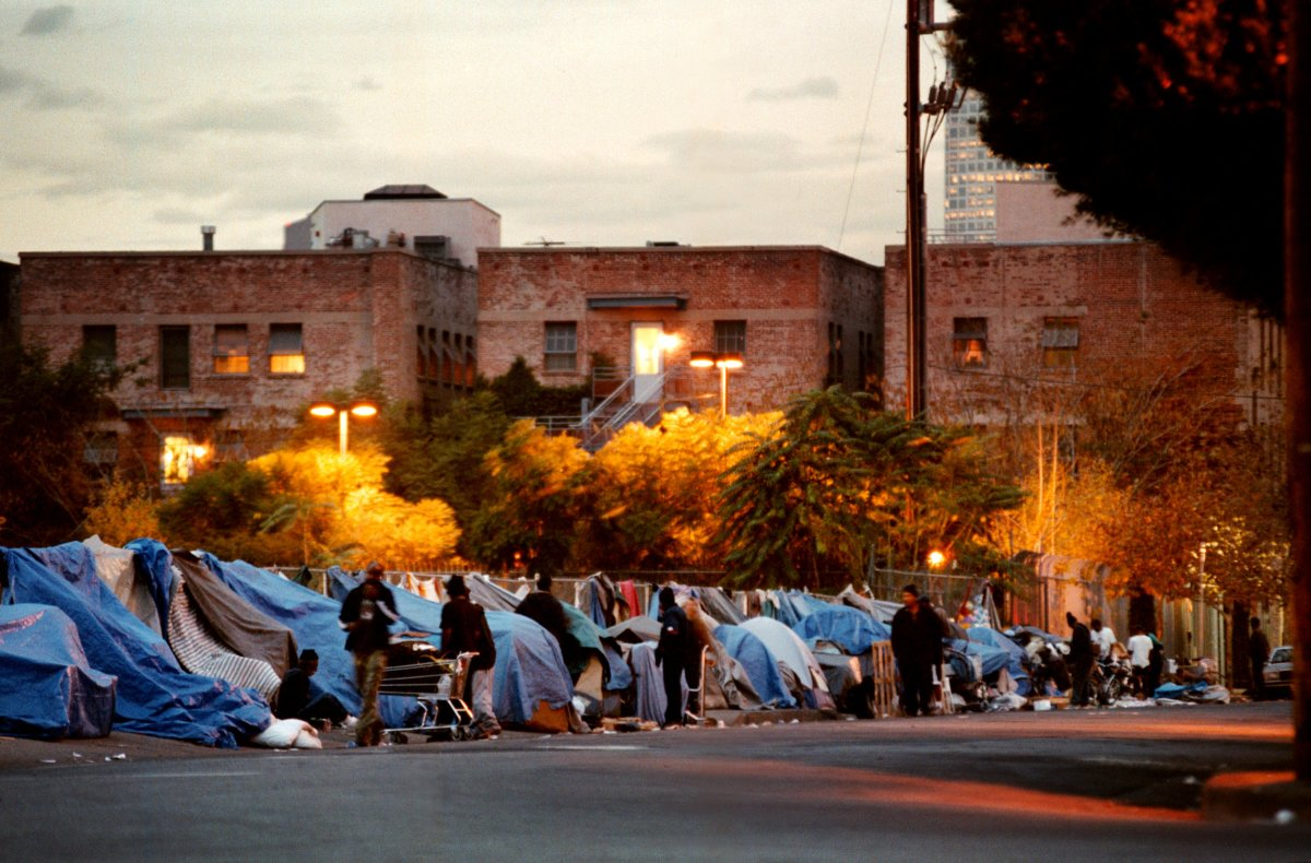 A homeless encampment in Hollywood, Los Angeles.
