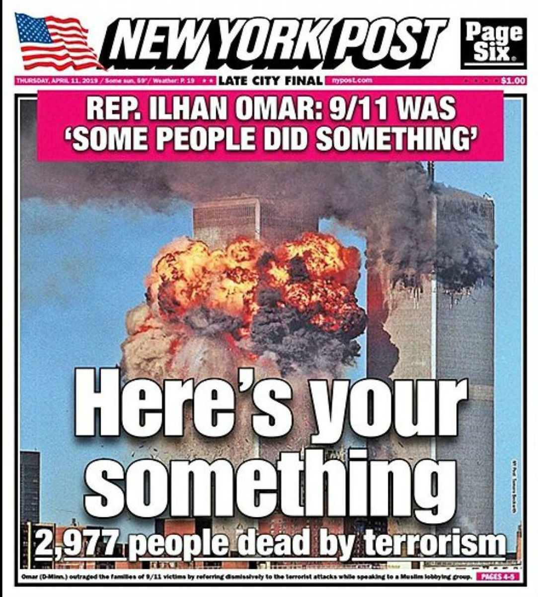 The April 11th, 2019, cover of the New York Post.