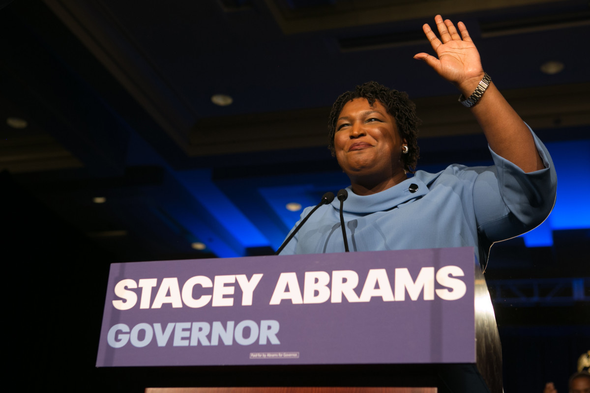 Stacey Abrams addresses supporters at an election watch party on November 6th, 2018, in Atlanta, Georgia.