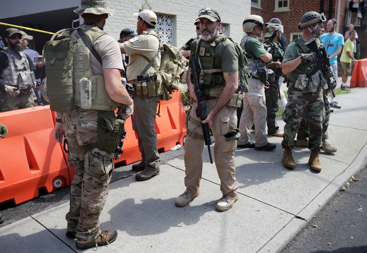 Militia members at the Unite the Right rally in Charlottesville, Virginia, in 2017.