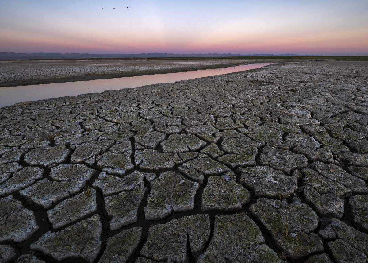 Mud is seen on land that was under the Salton Sea a few years ago on January 1st, 2019, near Calipatria, California.