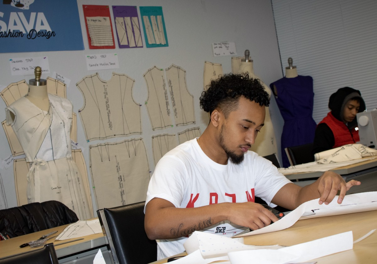 "Students in a fashion design class, part of a career ""pathway"" course of study in the Sacramento Academic and Vocational Academy's CTE curriculum."
