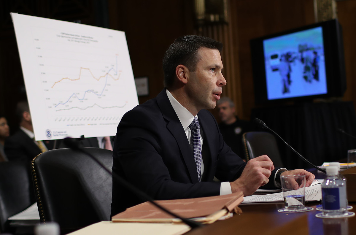 Kevin McAleenan, who was then commissioner of U.S. Customs and Border Protection, testifies before the Senate Judiciary Committee March 6th, 2019, in Washington, D.C. He is now the acting secretary of Homeland Security.