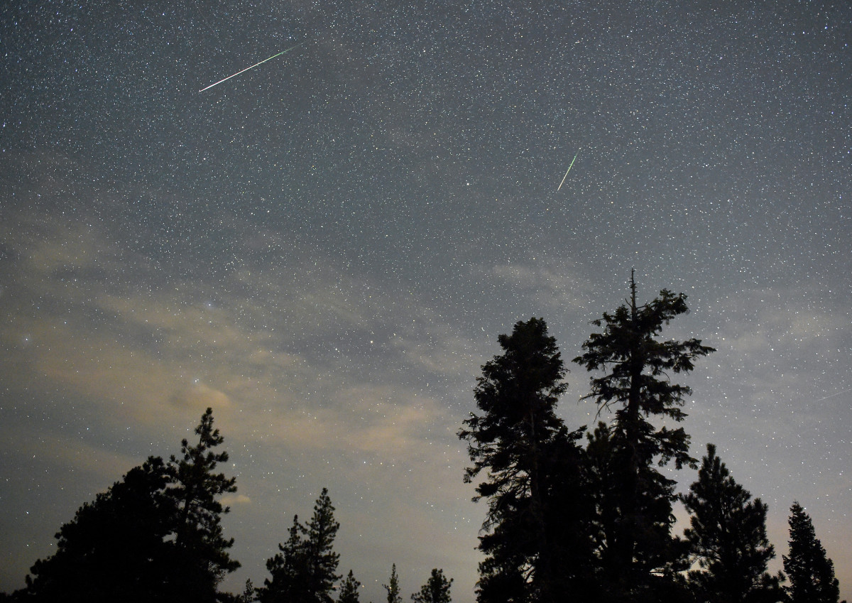 Two Perseid meteors streak across the sky on August 13th, 2015, in the Spring Mountains National Recreation Area, Nevada.