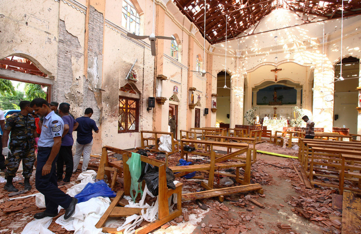 Sri Lankan officials inspect St. Sebastian's Church in Negombo, after one of the multiple explosions targeting churches and hotels on Easter Sunday, April 21st, 2019. Across three church bombings, and three luxury hotel bombings, at least 207 people were killed and hundreds more injured.