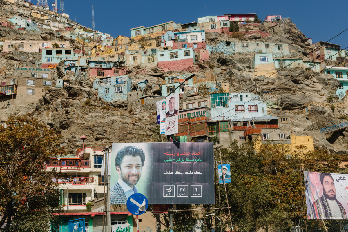 Parliamentary campaign ads on billboards and banners cover Kabul the week before the first parliamentary election in more than eight years.